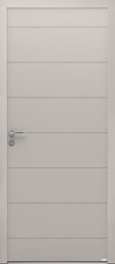 Porte d'entrée grise en alu