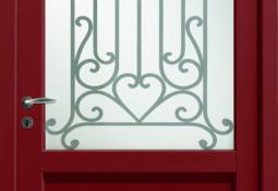 Porte d'entrée rouge en pvc