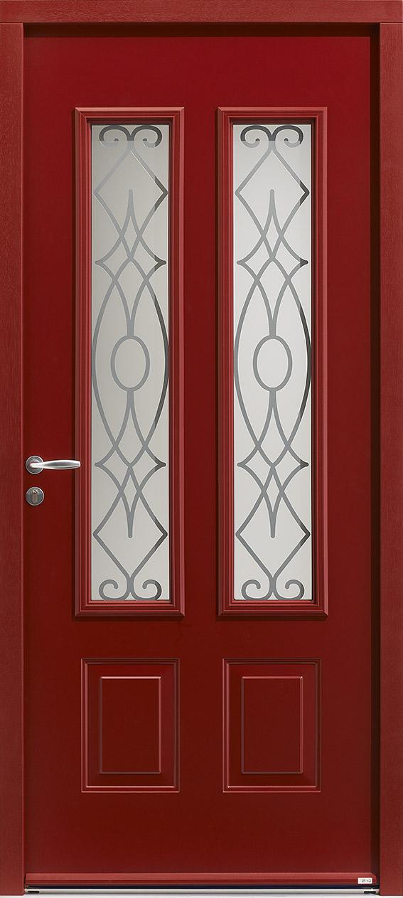 Porte d'entrée rouge en acier