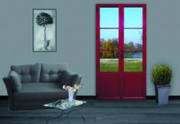 Porte fenêtre rouge en alu